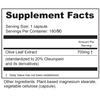 Supplement Facts Serving Size: 1 capsule; Servings Per Container: 180 Ingredients: Olive Leaf Extract (standardized to 20% Oleuropein and its derivatives) 700 mg†. †Daily value not established. Other Ingredients: Plant-based magnesium stearate, vegetable cellulose (capsule).