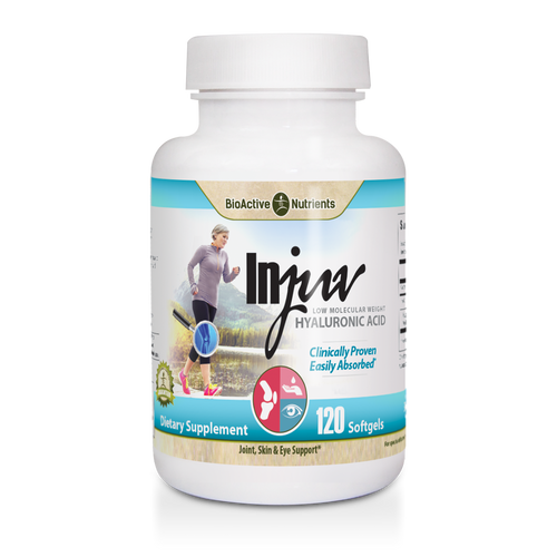 Gluten-free   Yeast-free  Hyaluronic Acid (HA) is a key component of cartilage and an essential lubricant for healthy joints, skin and eyes. Unfortunately, HA levels decline with age.  Injuv's clinically proven, low molecular weight hyaluronic acid complex is specially formulated for optimal absorption and moisturizes from the inside out to support: Joint & Cartilage Health*, Softer, Smoother-looking Skin*, Eye Health*.