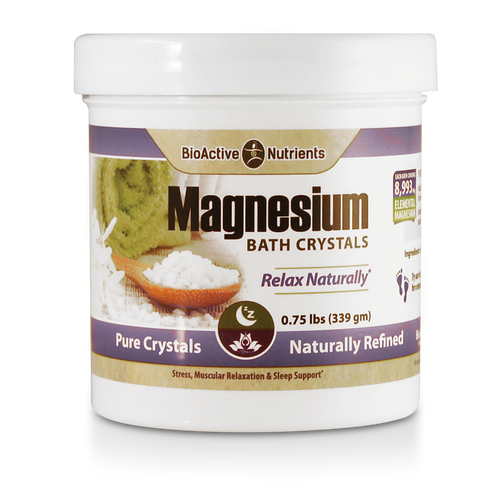 A luxurious soak with our Magnesium Bath Crystals provides effective transdermal absorption of the mineral to support: Soothing Relief of Sore Muscles and Joints*, Relief of Occasional Stress and Sleeplessness*,  Muscular Relaxation*