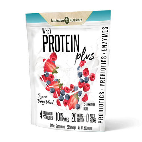 Whey Protein Blend from happy Wisconsin cows, is a complete protein that contains a broad spectrum of amino acids and keeps you feeling fuller longer.  MCTs (medium chain triglycerides) absorb rapidly into the bloodstream which gives you a steady stream of energy with no crash.  Organic Fruit Blend is a potent blend of organic berries, dried, powdered and unadulterated; preserving the antioxidants and leaving phytochemicals intact.