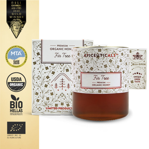 FIR TREE Premium Organic Honey is collected by our bees on Mount Mainalon, which is full of Greek Fir trees, at a height of >1000m, in Arcadia, Greece.
