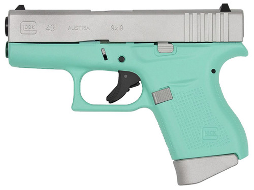 Glock 43 9mm Robin Egg Blue 3.39""