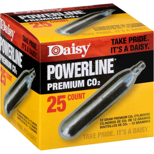 DAISY POWERLINE PREMIUM 12-GRAIN CO2 CYLINDERS, (25-COUNT)