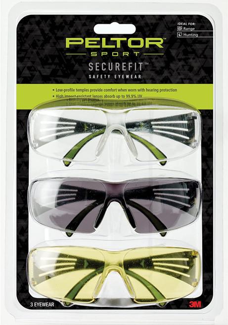 Sport SecureFit™ 400 Eye Protection, 3 Pack: Clear+Amber+Gray Lenses, Anti Fog