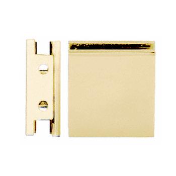 SGCU1SB Shower Glass Clamp in Satin Brass Square Style Notch-in-Glass Fixed Panel U-Clamp