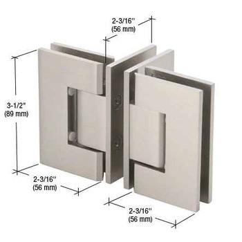 Geneva Brushed Nickel T Configuration Geneva Glass-to-Glass Hinge
