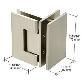 Geneva Junior Geneva 092 Series 90 Degree Glass-to-Glass Hinge - Brushed Nickel
