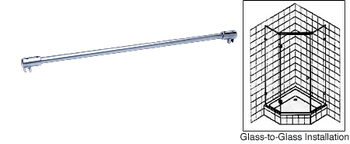 Glass to Glass Support Bar for 6mm to 8mm Glass - Chrome
