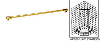 Glass to Glass Support Bar for 6mm to 8mm Glass - Ultra Brass