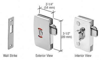 Chrome Sliding Glass Door Lock With Indicator for 8mm to 12mm Glass