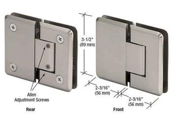 Pinnacle Pinnacle 380 Series Adjustable 180 Degree Glass-to-Glass Hinge - Brushed Nickel