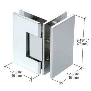 Geneva Chrome Junior Geneva 092 Series 90 Degree Glass-to-Glass Hinge