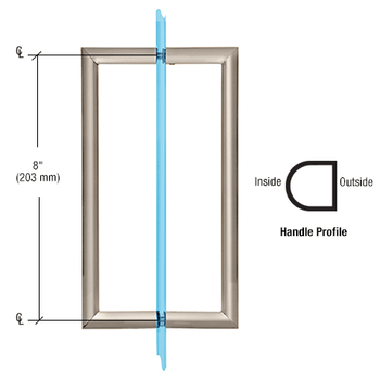 RM Series Flat Outside Surface/Round Tubing Inside Back-to-Back Pull Handle