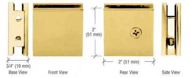 Shower Glass Clamps Brass Square Style Notch-in-Glass Fixed Panel U-Clamp