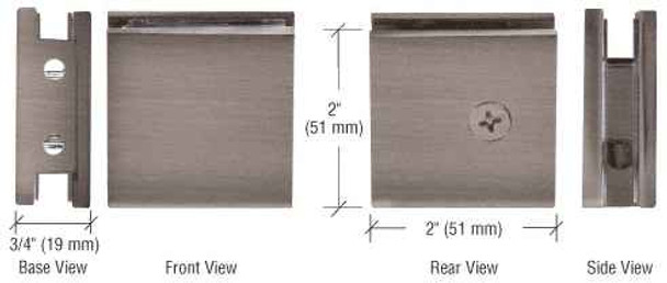 Shower Glass Clamps Antique Brushed Nickel Square Style Notch-in-Glass Fixed Panel U-Clamp