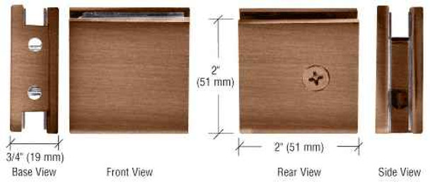 Shower Glass Clamps Brushed Bronze Square Style Notch-in-Glass Fixed Panel U-Clamp