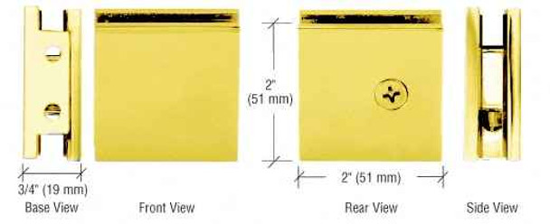 Shower Glass Clamps Gold Plated Square Style Notch-in-Glass Fixed Panel U-Clamp