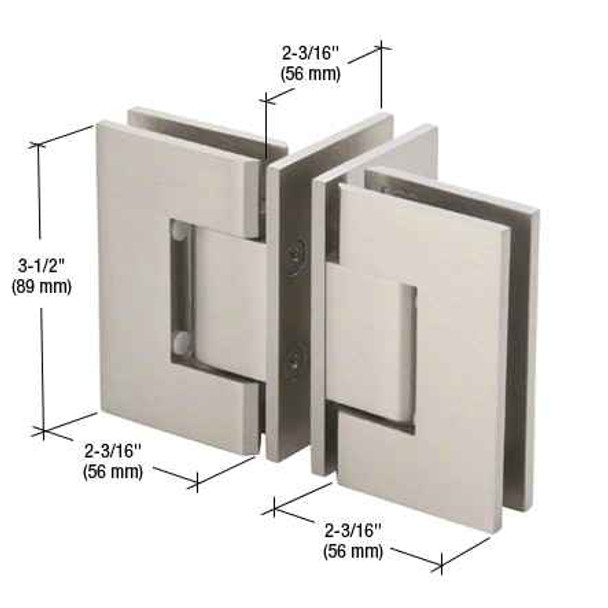 Geneva Brushed Nickel T Configuration Geneva Glass-to-Glass Hinge