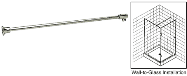 Wall to Glass Support Bar for 6mm to 8mm Glass - Brushed Nickel