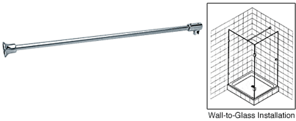 Wall to Glass Support Bar for 6mm to 8mm Glass - Chrome