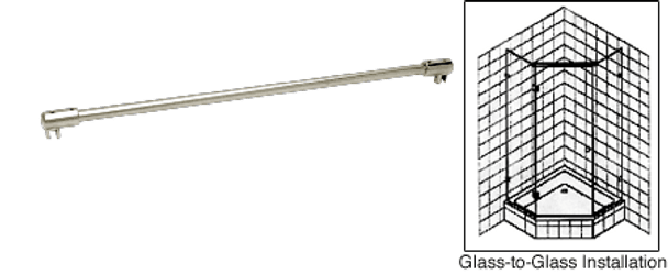 Glass to Glass Support Bar for 6mm to 8mm Glass - Polished Nickel
