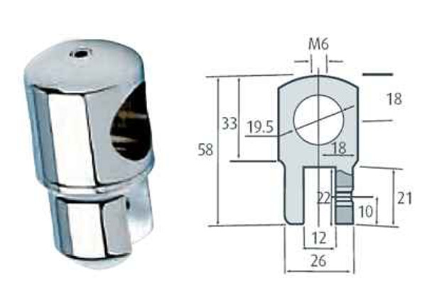 Chrome Plated Shower Stabilizer for 8 to 12 mm Glass