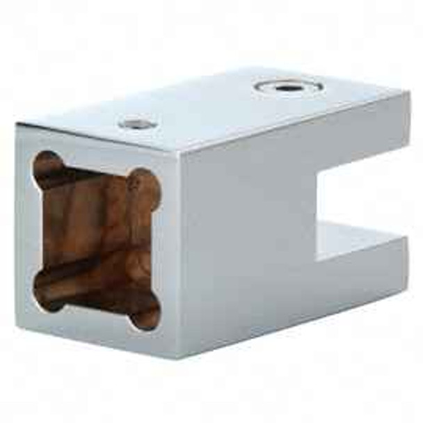 Chrome Square Cornered Support Bar Bracket for 10mm to 12mm Thick Glass