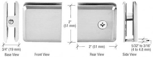 Chrome Bevelled Glass Style Wall Mount Glass U Clamp - Hole in Glass - 10mm to 12mm Glass