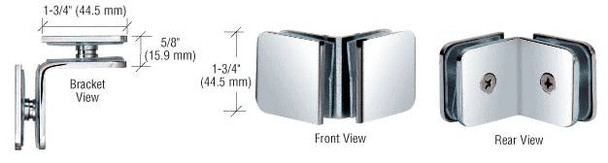 Shower Glass Clamps 90 Degree Traditional Style Glass to Glass Clamp