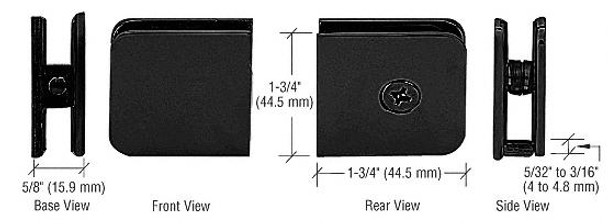 Shower Enclosure Clamps Matte Black Traditional Style Fixed Panel U Clamp - Hole in Glass - 8mm to 10mm