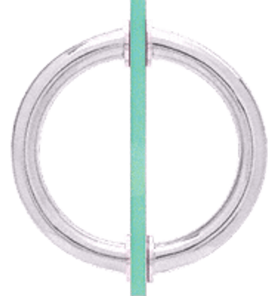 Chrome 5-1/8 Tubular Back-To-Back Circular Style Brass Shower Door 3/4 Diameter Pull Handles