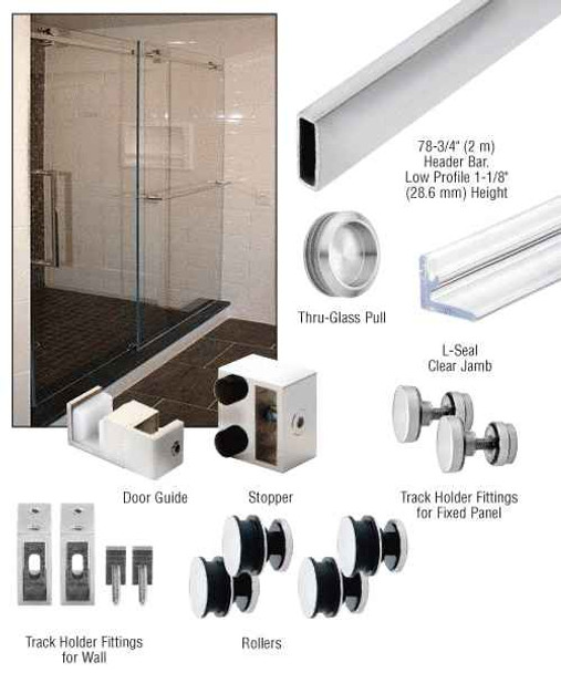 Serenity Polished Stainless Serenity Sliding Door System 180 Degree Kit