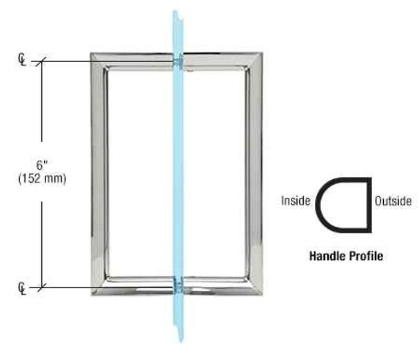 6 RM Series Flat Outside Surface/Round Tubing Inside Back-to-Back Pull Handle