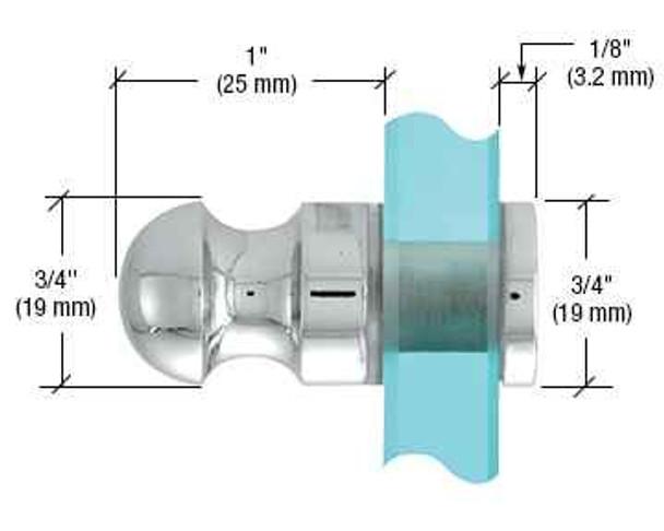 Chrome Mini Bulb Style Single-Sided Door Knob
