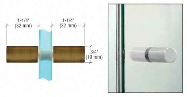 Antique Brass Cylinder Style Back-to-Back Shower Door Knobs