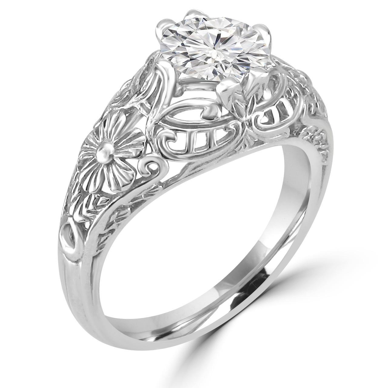 14K White Gold Vintage Inspired Engagement Ring , Shirin Style