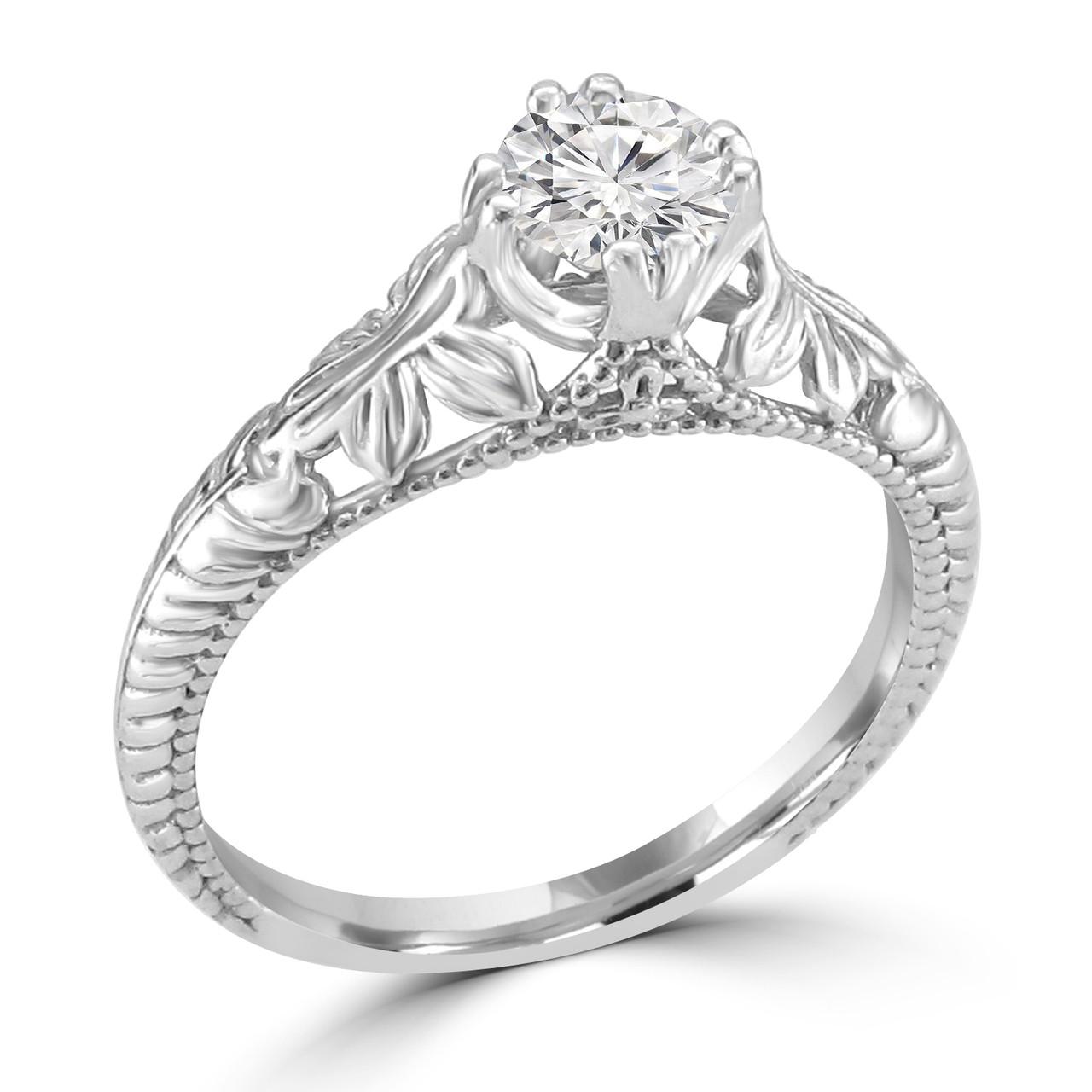 14K White Gold Vintage Inspired Engagement Ring , Anisa Style