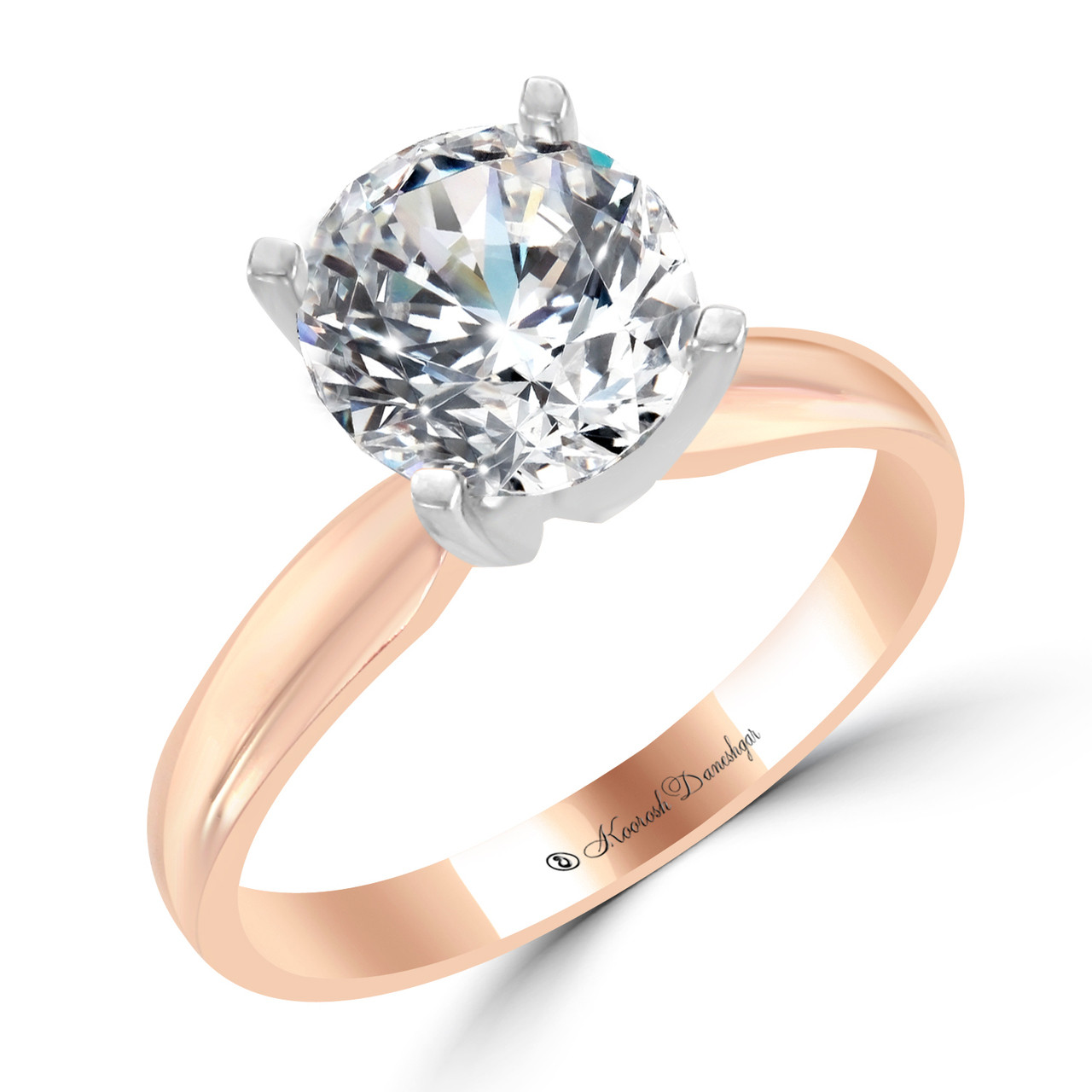 79a4b3ad3 14K Rose Gold Solitaire Engagement Ring with 14K White Gold Prongs - Vega  Style