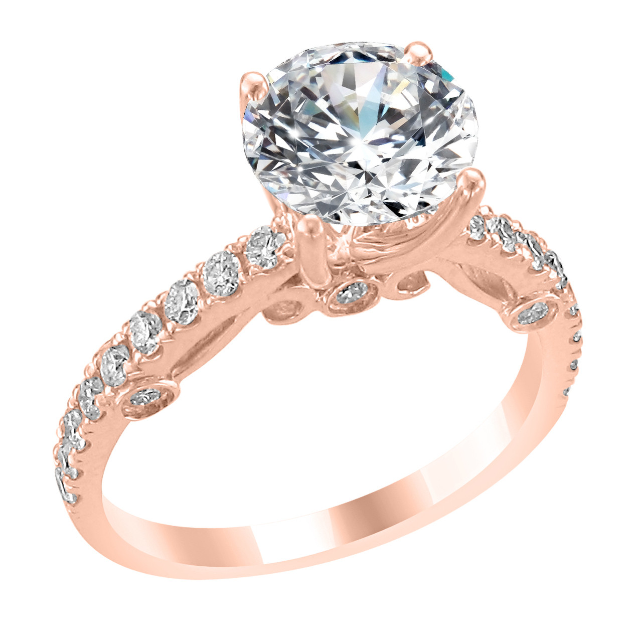 Rose Gold Wedding Ring.14k Rose Gold Engagement Ring With Diamond Side Accent Audrey Style