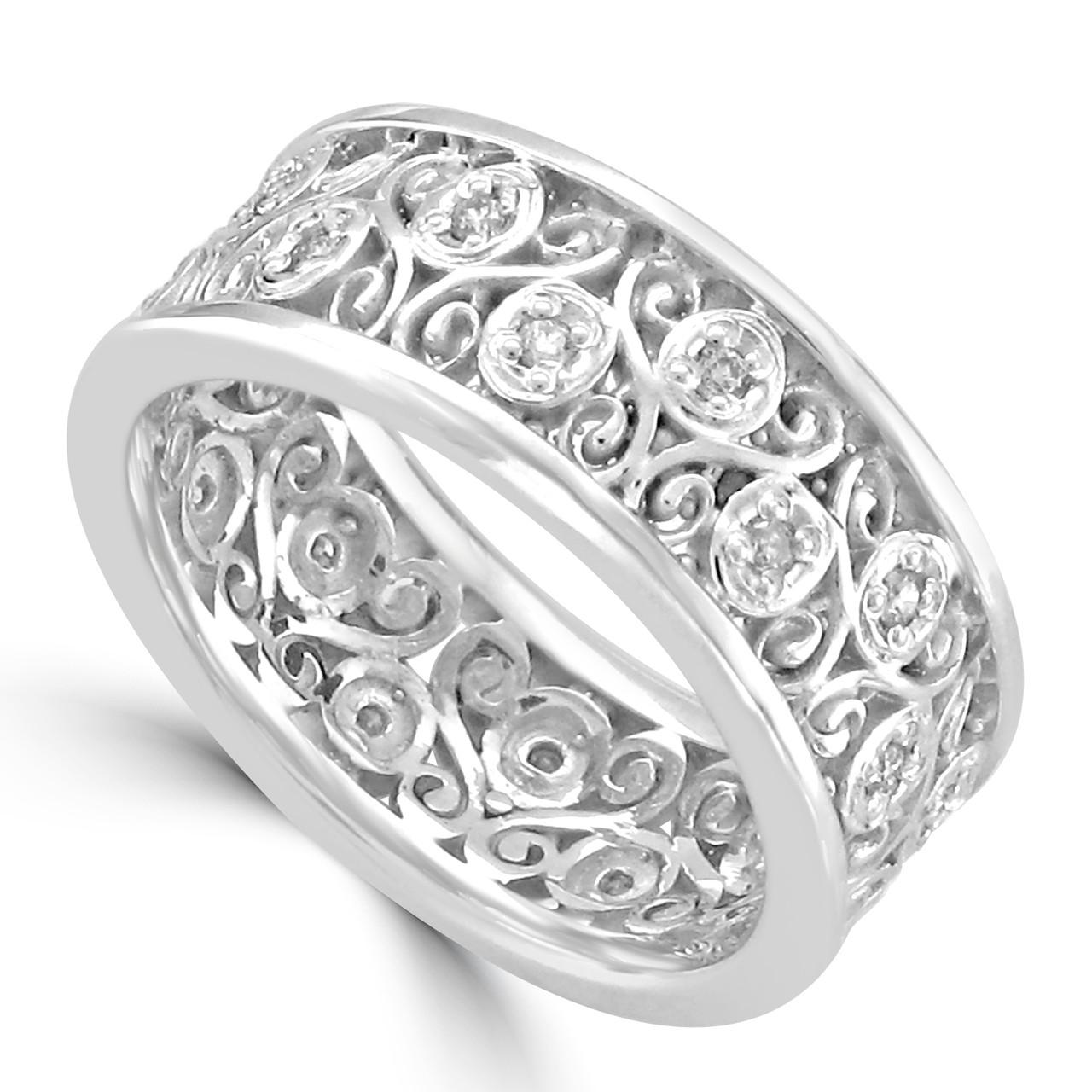 Filigree Wedding Band.14k White Gold Filigree Eternity Style Wedding Band