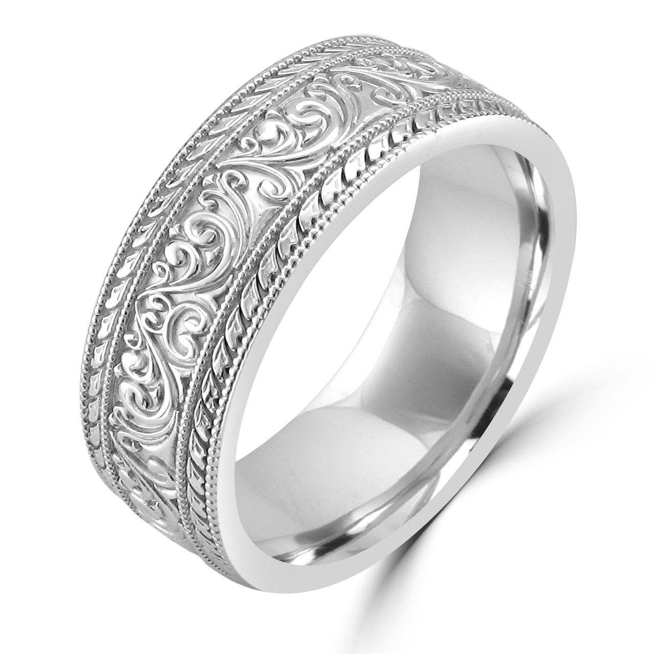 White Gold Wedding Band.14k White Gold Unique Art Nouveau Carved Wedding Band
