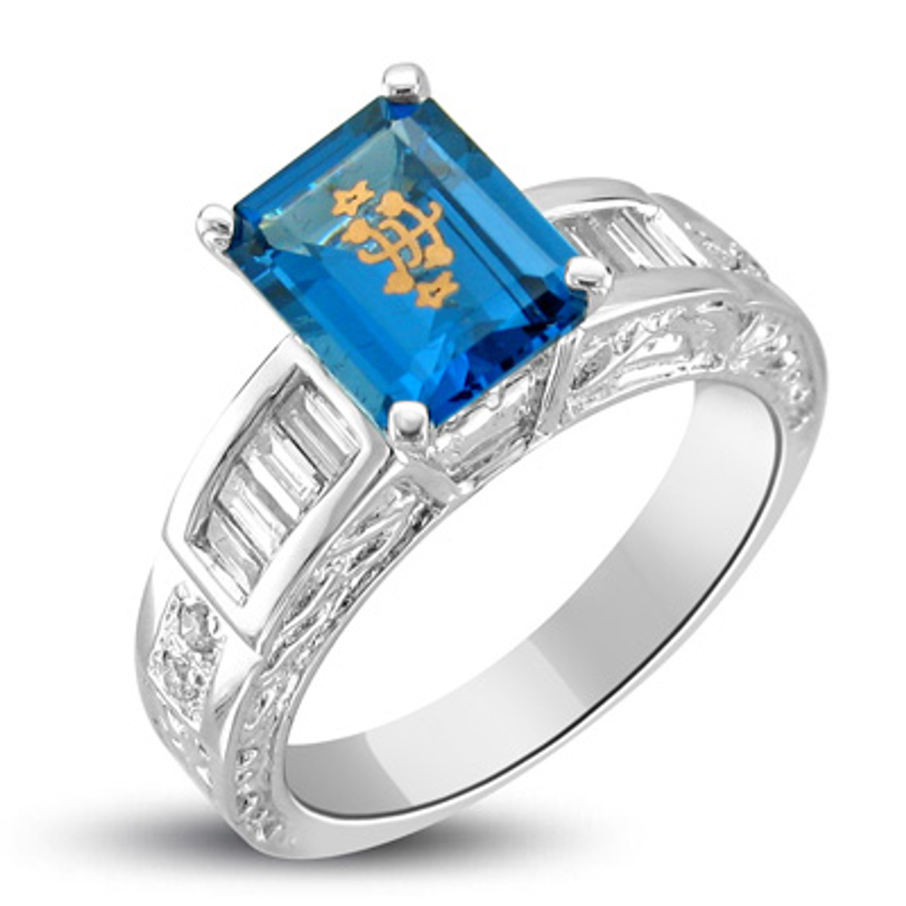 14k White Gold Baguette Carved Blue Emerald Cut Baha I Ringstone