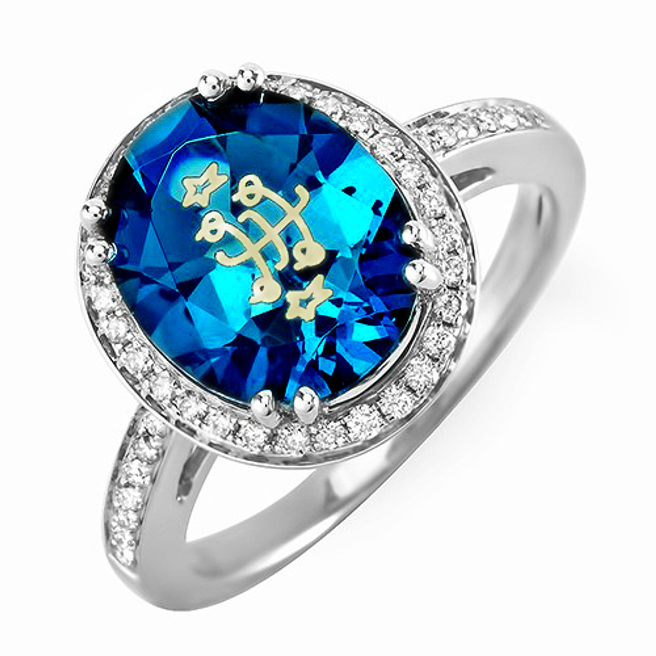 ee8125506222b 14K White Gold Oval Halo London Blue Baha'i Ringstone