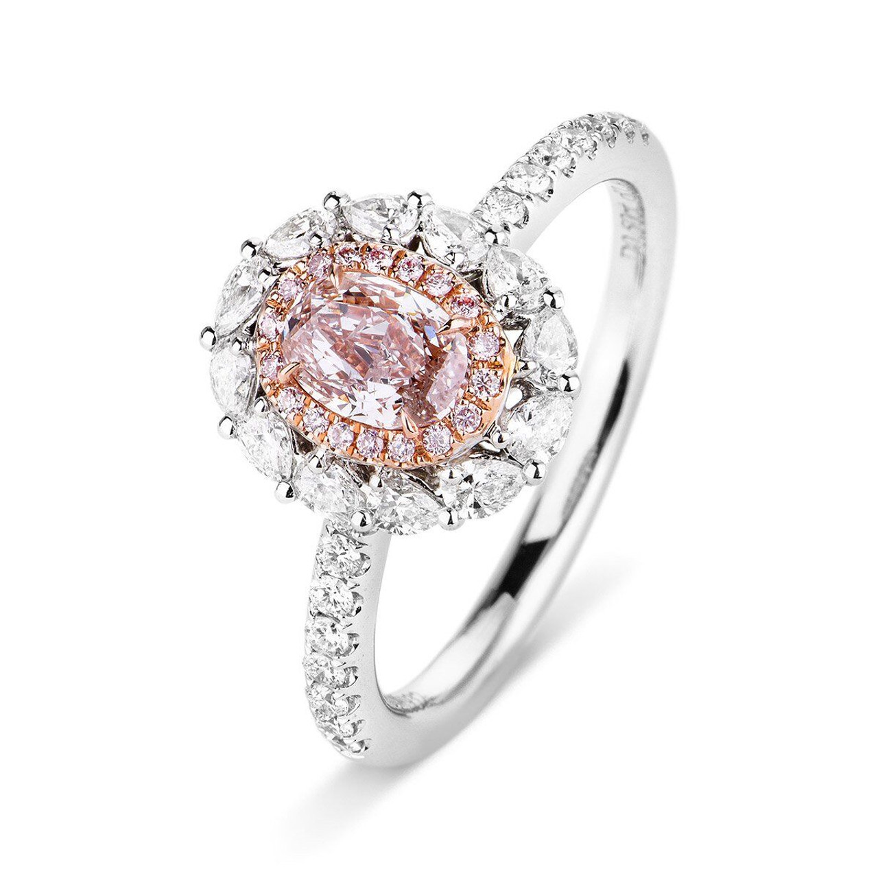 18kt White and Rose Gold Pear Halo Oval Pink Diamond Ring