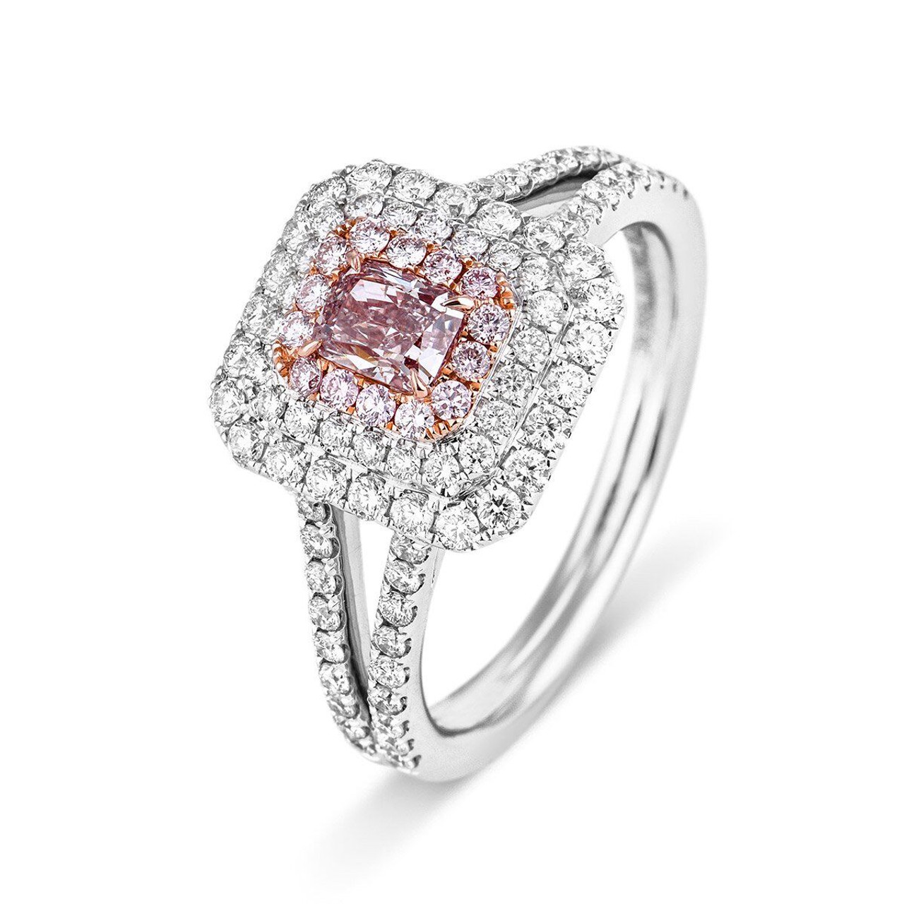 d7cfabcca9b 18kt White and Rose Gold Triple Halo Radiant Pink Diamond ring