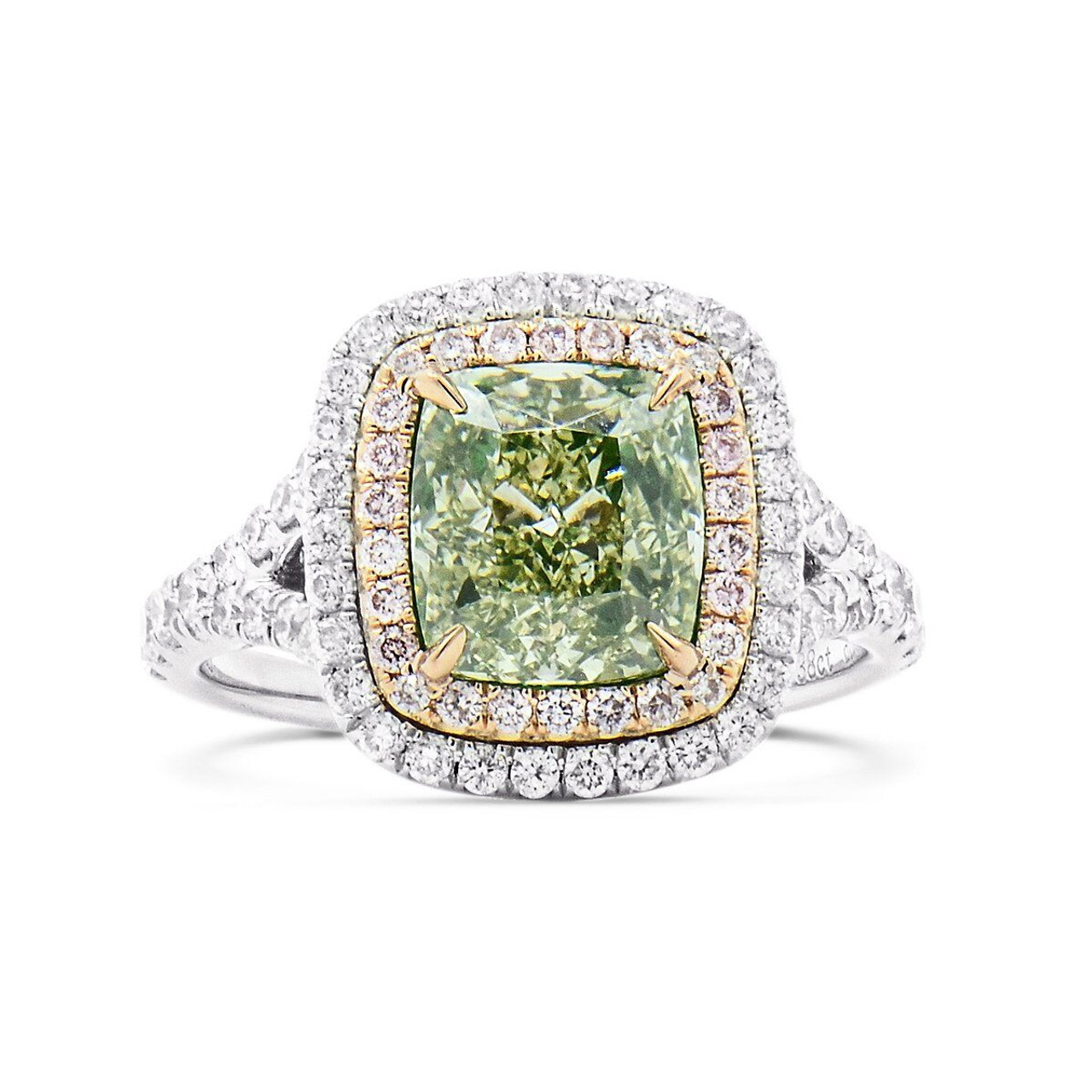 18kt White And Rose Gold Double Halo Green And Pink Diamond Ring