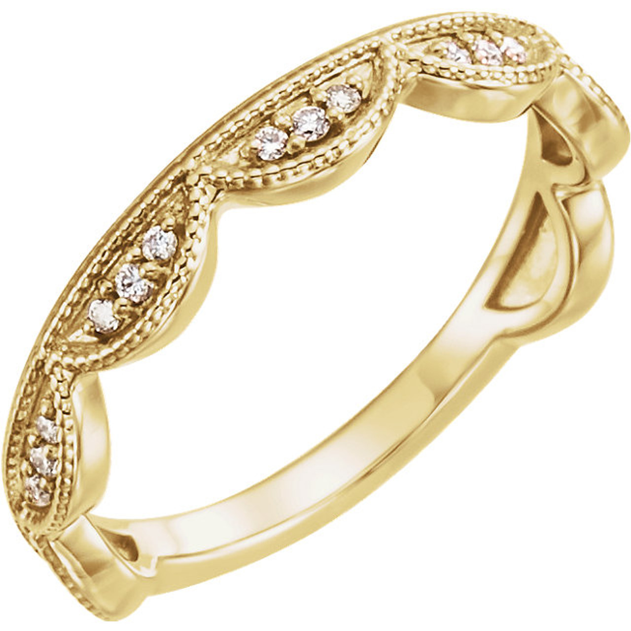 0a93cb61d5 14kt Gold Scalloped Diamond Stackable Ring - Wedding Bands & Co.