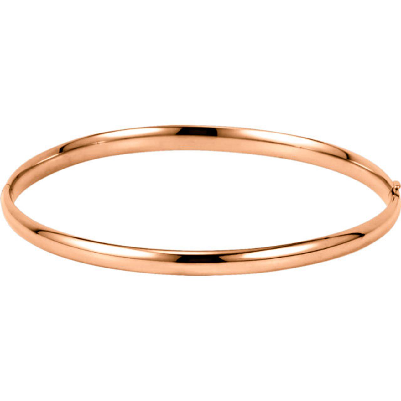 2a57636b4f8 14kt Gold Plain Hollow Hinged Bangle Bracelet - Wedding Bands & Co.