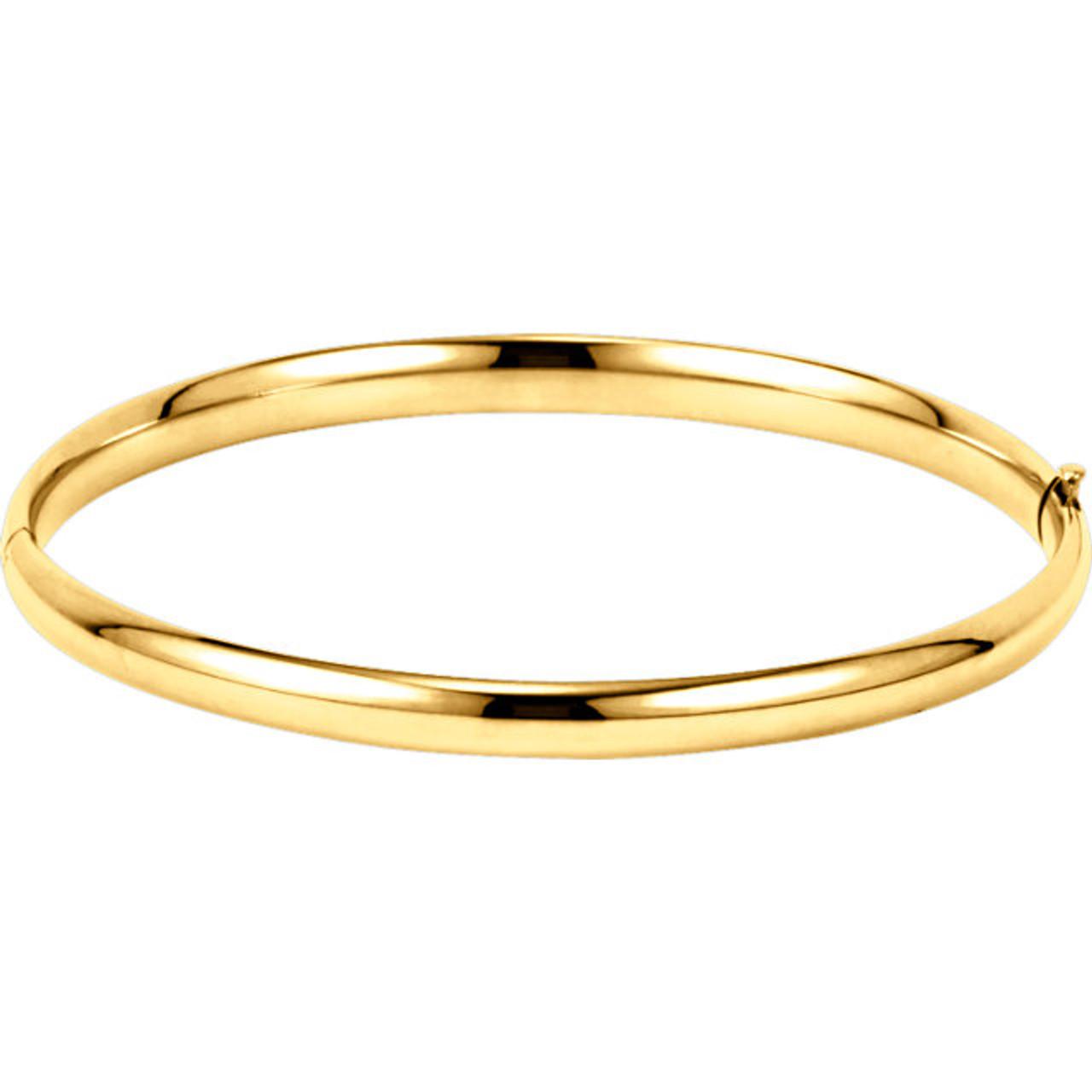 7433ce09092 14kt Gold 4.75mm Plain Hollow Hinged Bangle Bracelet - Wedding Bands ...