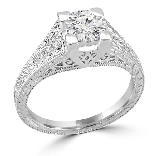 14K White Gold Vintage Inspired Engagement Ring - Sandra Style
